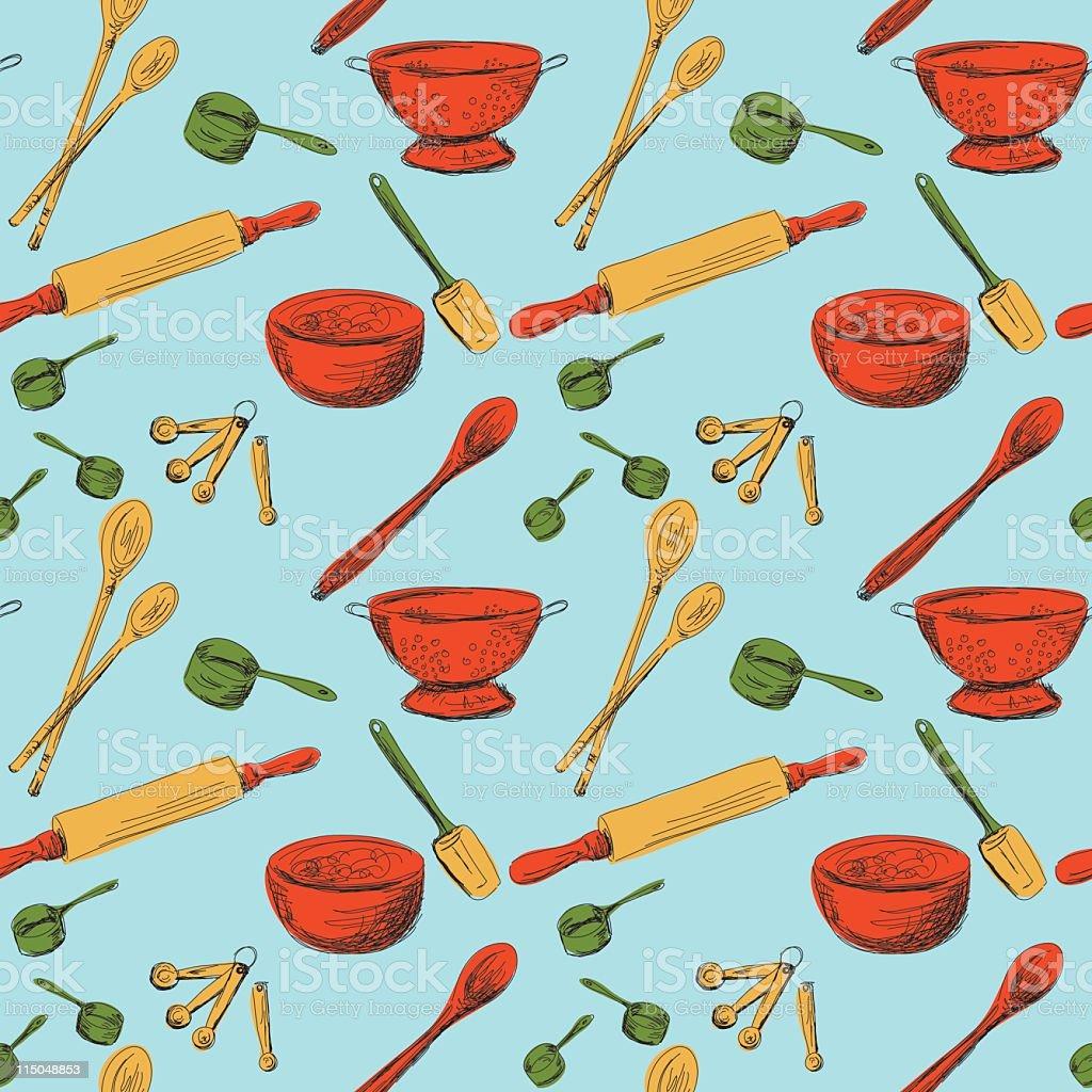 Seamless Kitchen Gadgets Pattern royalty-free stock vector art
