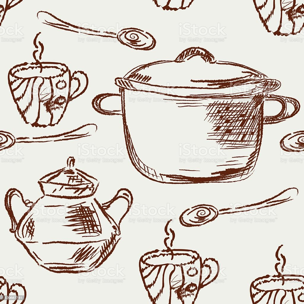 Seamless kitchen pattern with crockery royalty-free stock vector art