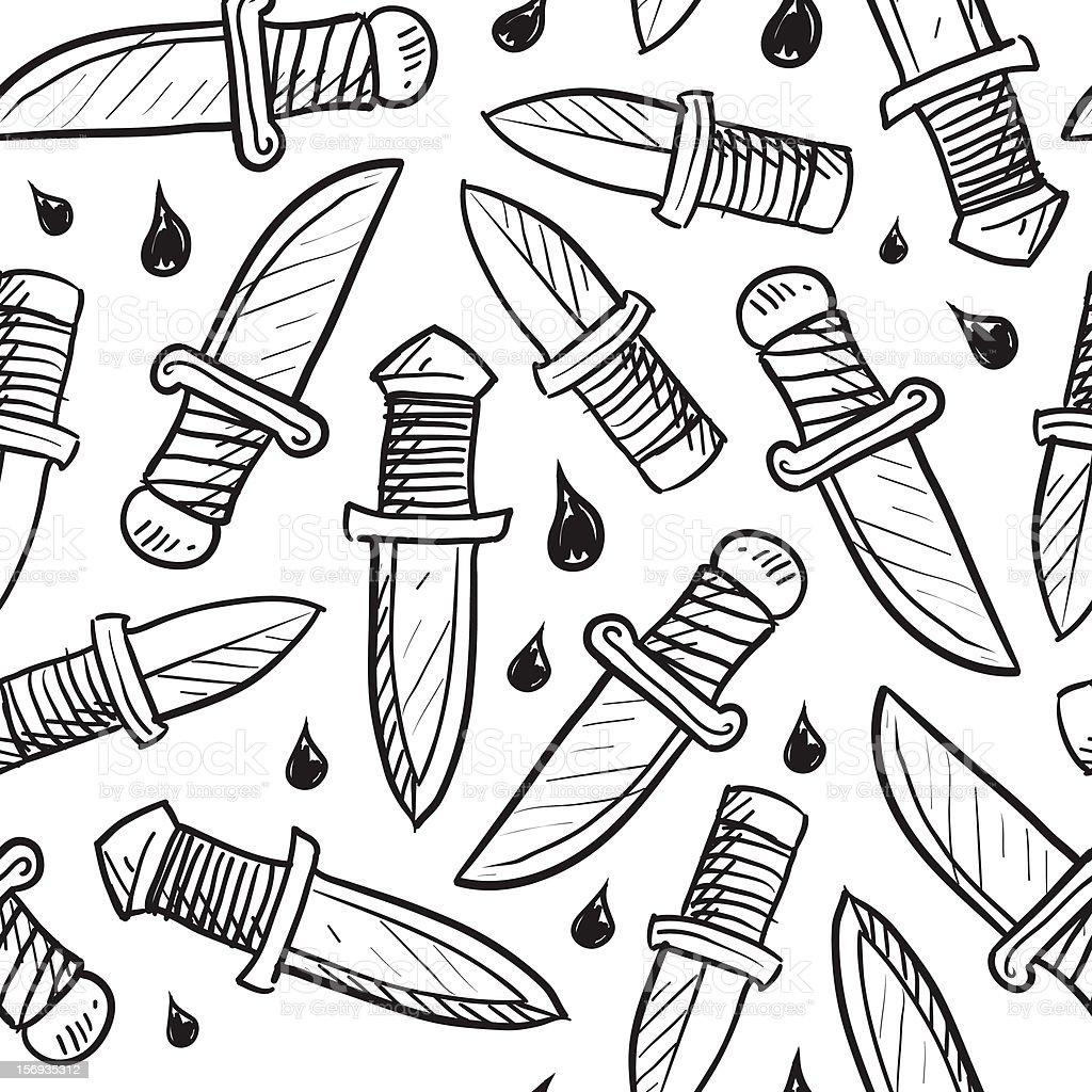 Seamless knife vector background vector art illustration