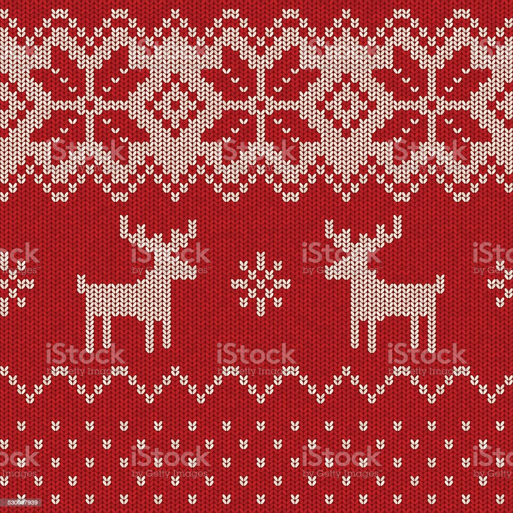 Seamless Knitted Christmas Pattern vector art illustration