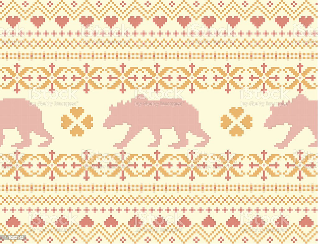 Seamless knitted pattern with bears royalty-free stock vector art