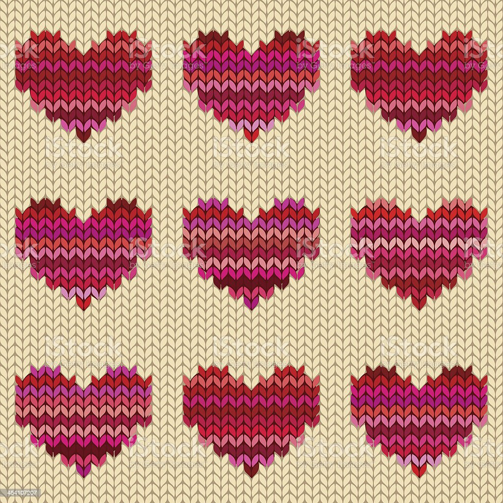 Seamless knitted pattern with hearts vector art illustration