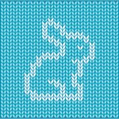 Seamless knitted pattern with rabbit