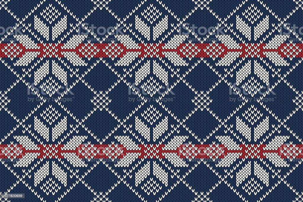 Seamless Knitting Pattern. Winter Holiday Sweater Design vector art illustration