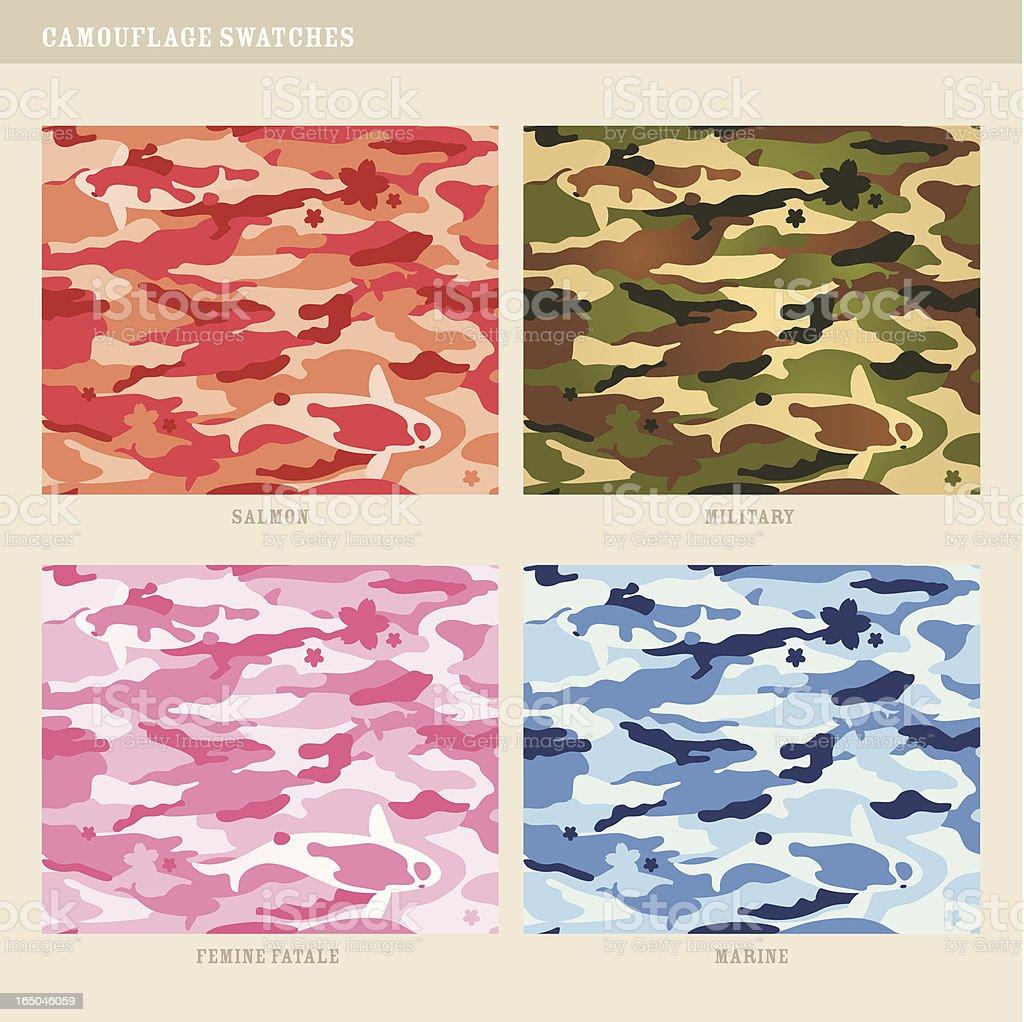 Seamless koi fish camouflage swatches vector art illustration