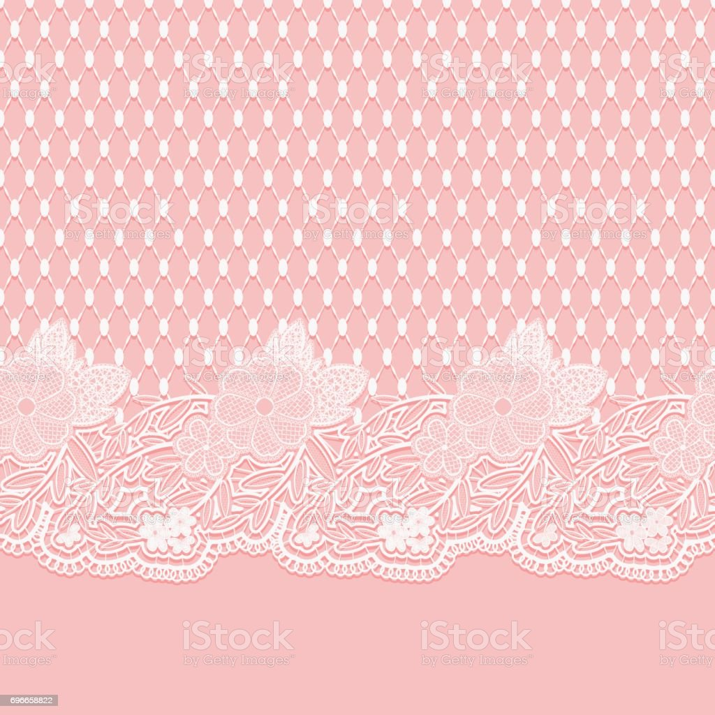 Seamless lace horizontal fabric. White flowers and a grid on a pink background. vector art illustration