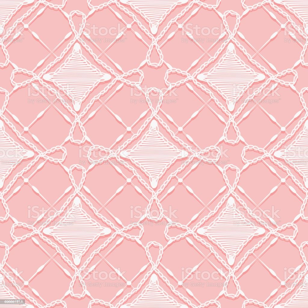 Seamless lace pattern. Imitation hand crochet openwork ornament. vector art illustration