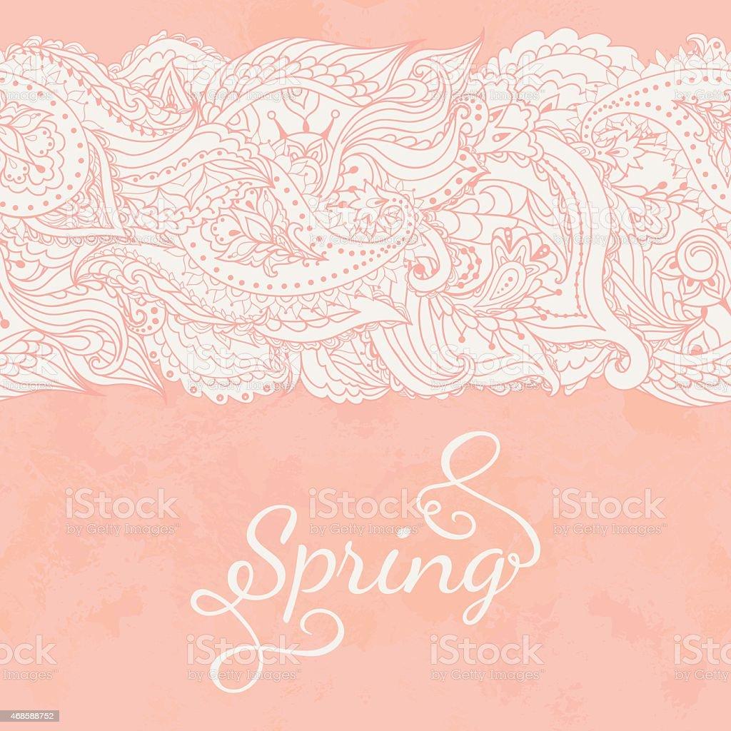 Seamless lace ribbon vector art illustration