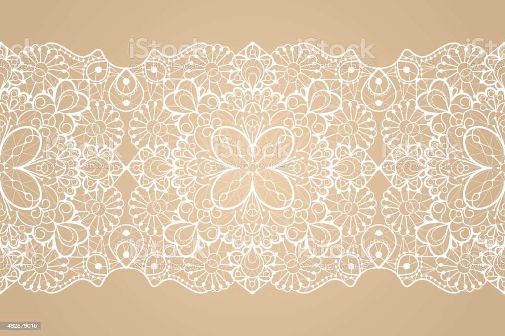 Seamless lace ribbon vector art illustration