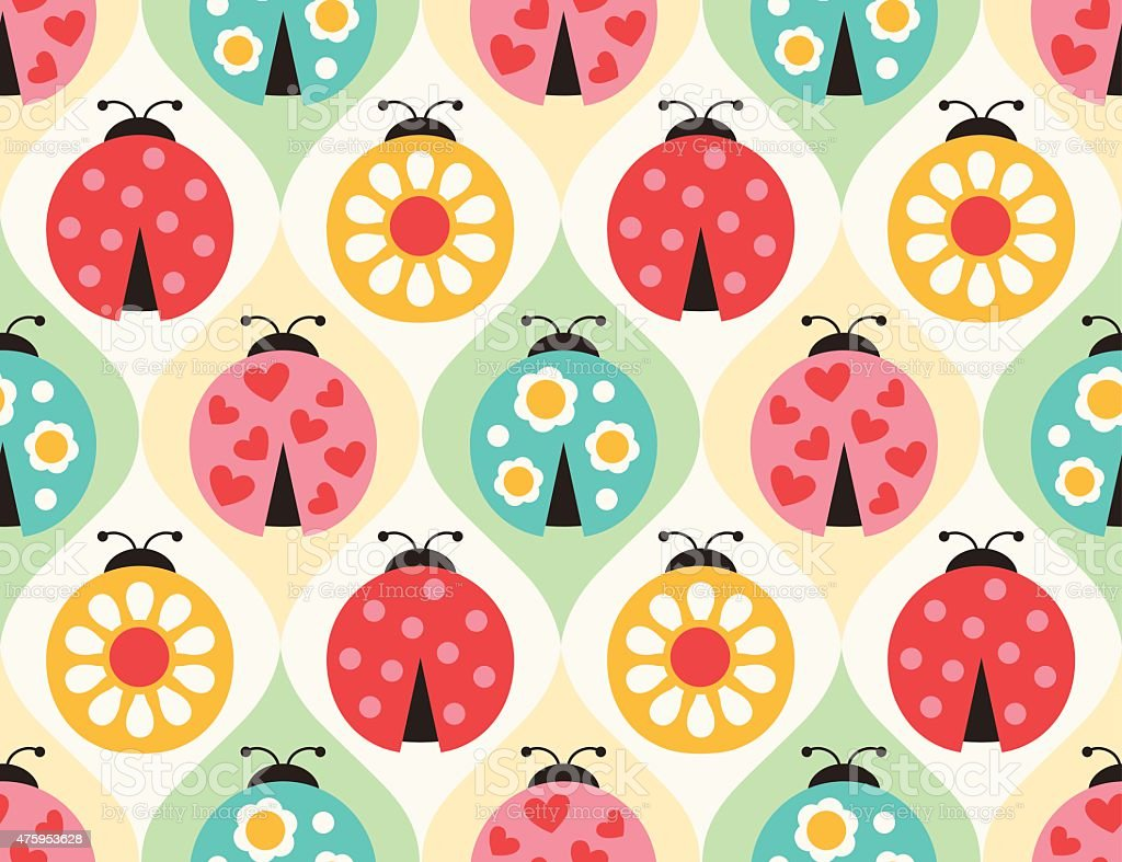 seamless ladybug insects pattern vector art illustration