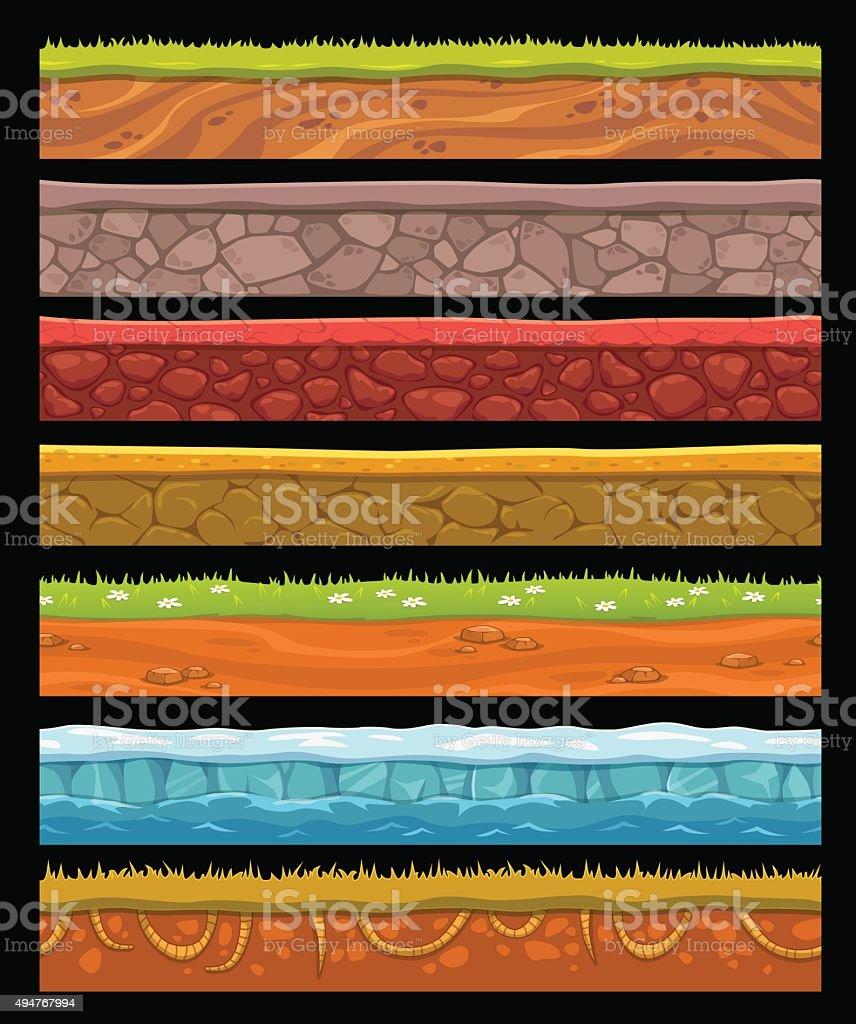 Seamless landscape elements set vector art illustration