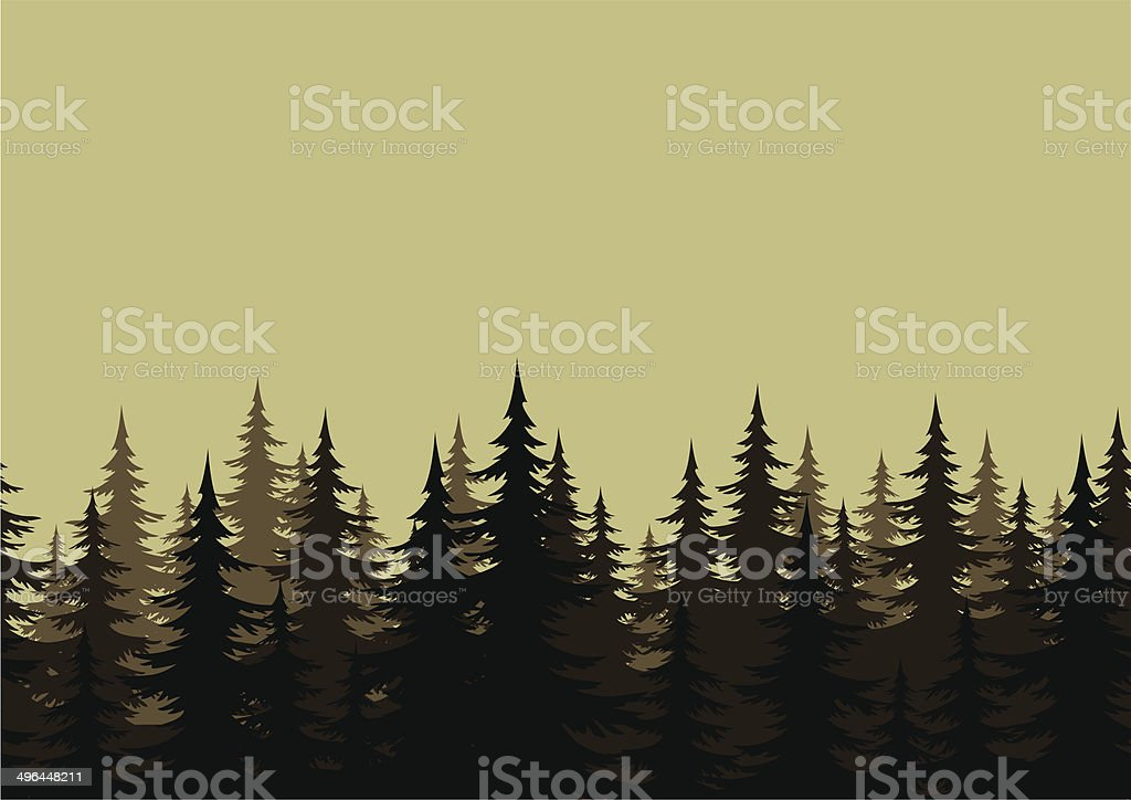 Seamless landscape, forest, silhouettes vector art illustration