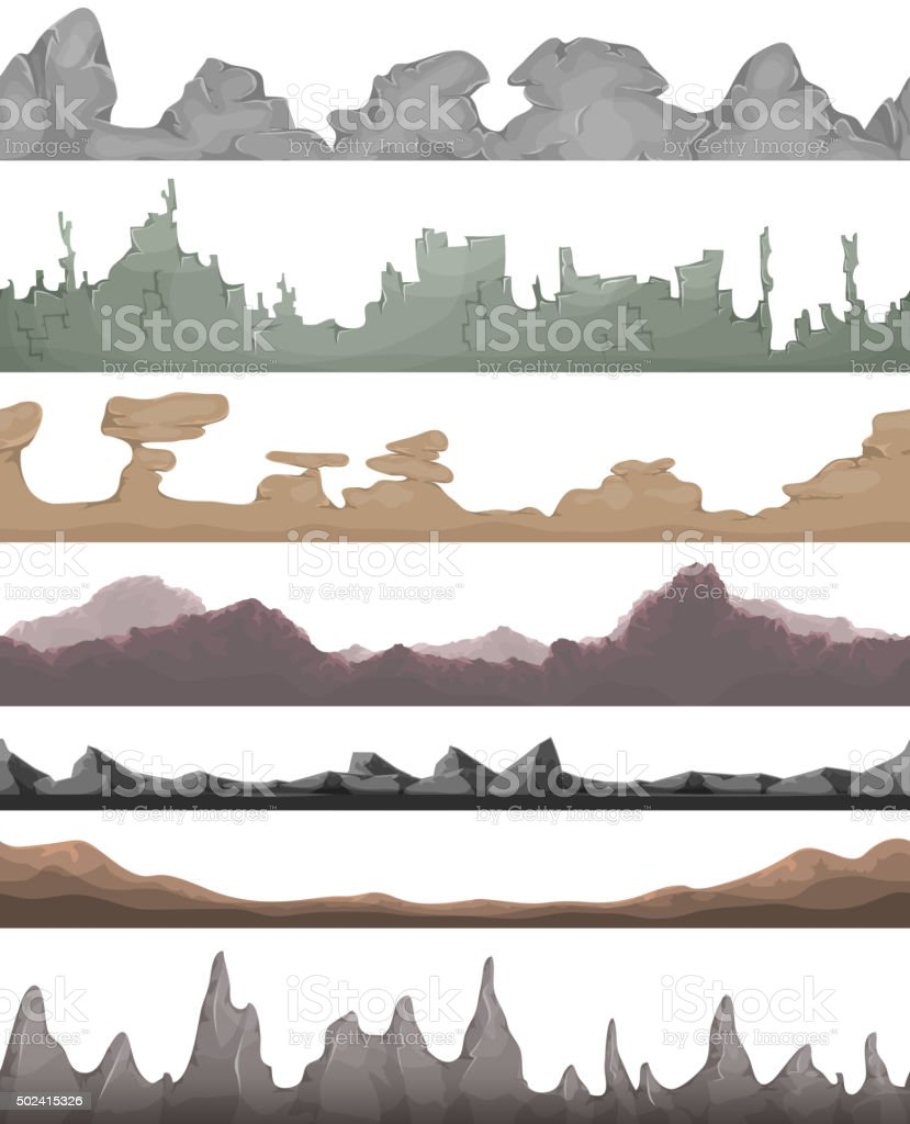 Seamless Landscape Grounds For Game Ui vector art illustration
