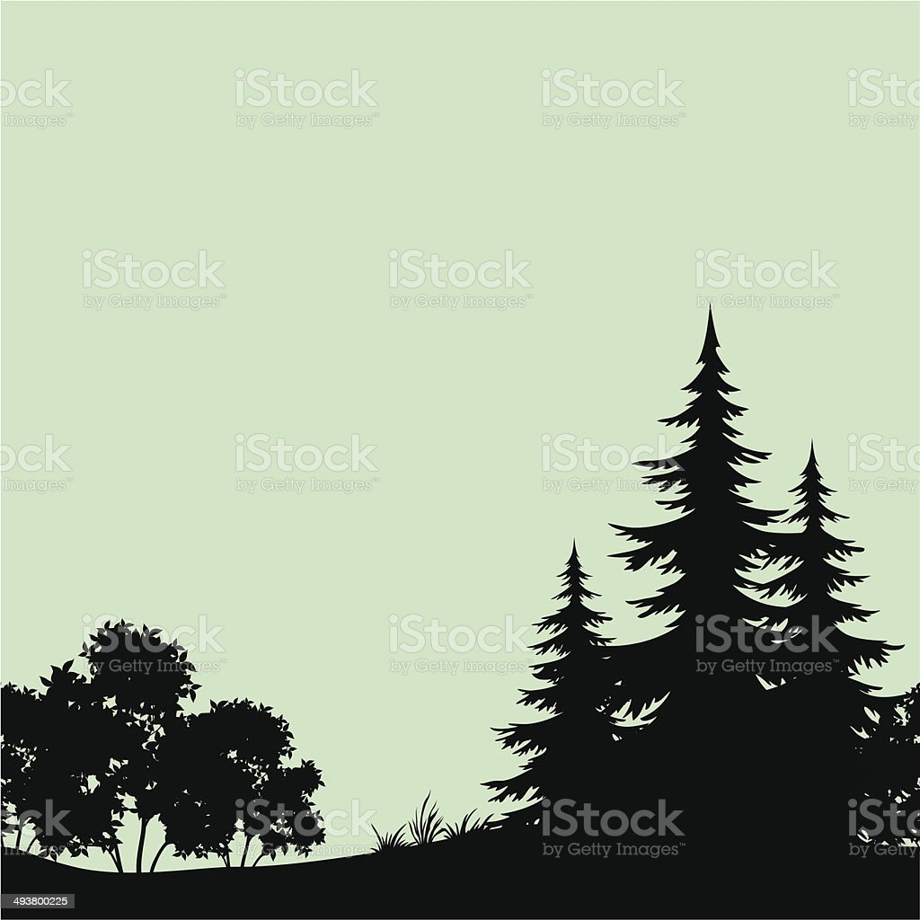 Seamless landscape, night forest silhouettes vector art illustration