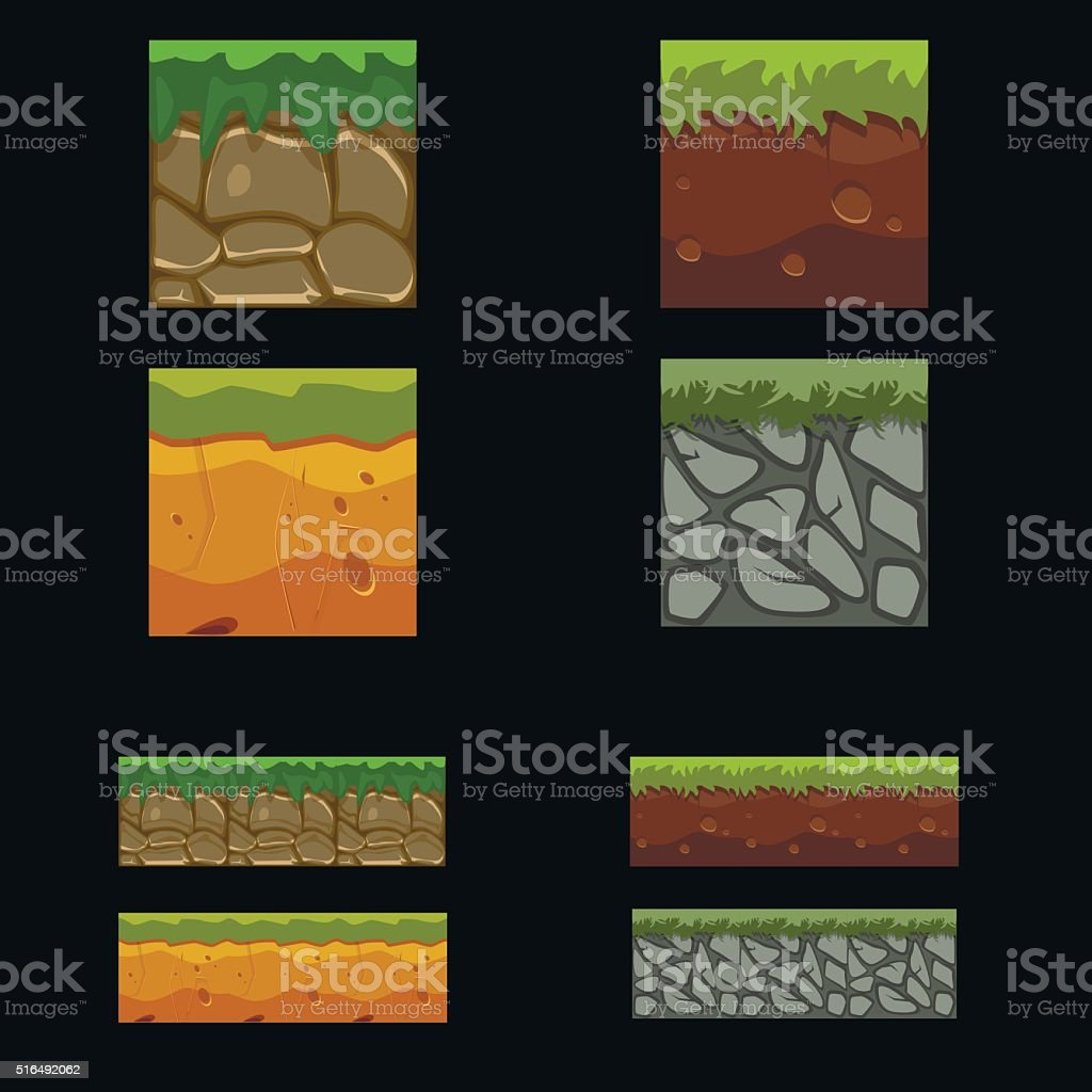 Seamless landscape square elements set vector art illustration
