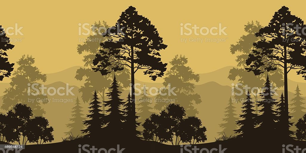Seamless Landscape, Trees and Mountain Silhouettes vector art illustration