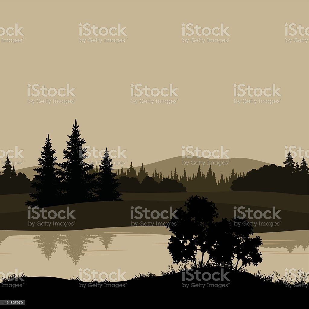 Seamless landscape, trees, river and mountains vector art illustration