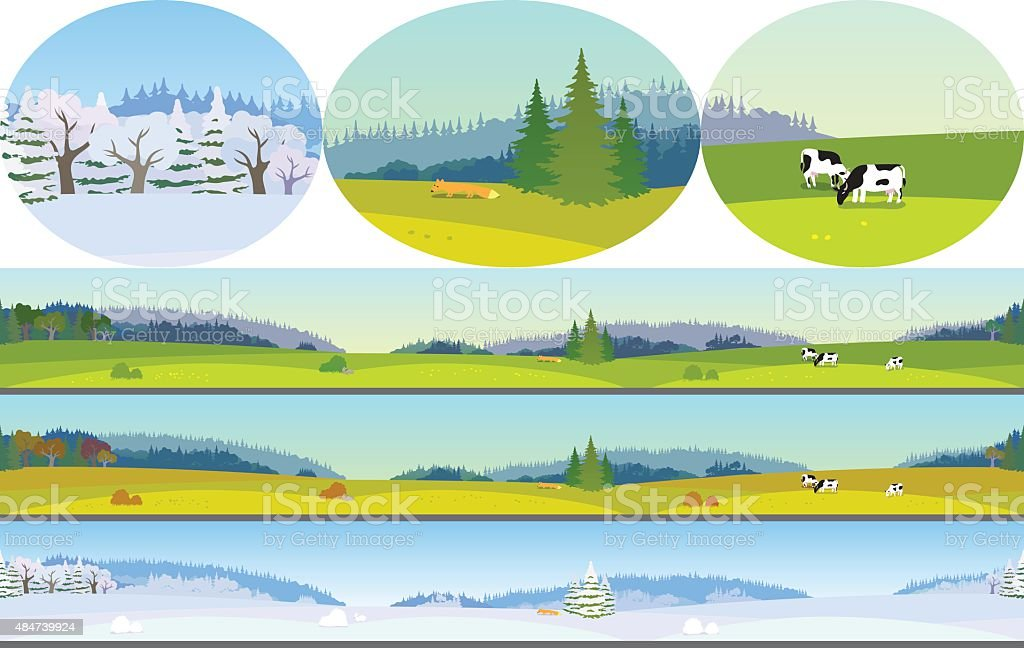Seamless Landscape vector art illustration