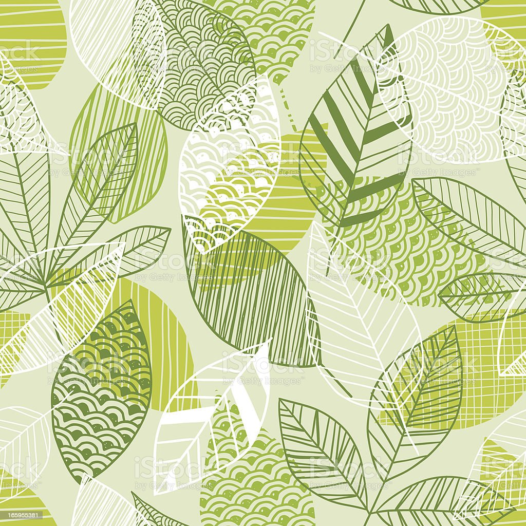 Seamless leaf pattern in shades of green vector art illustration