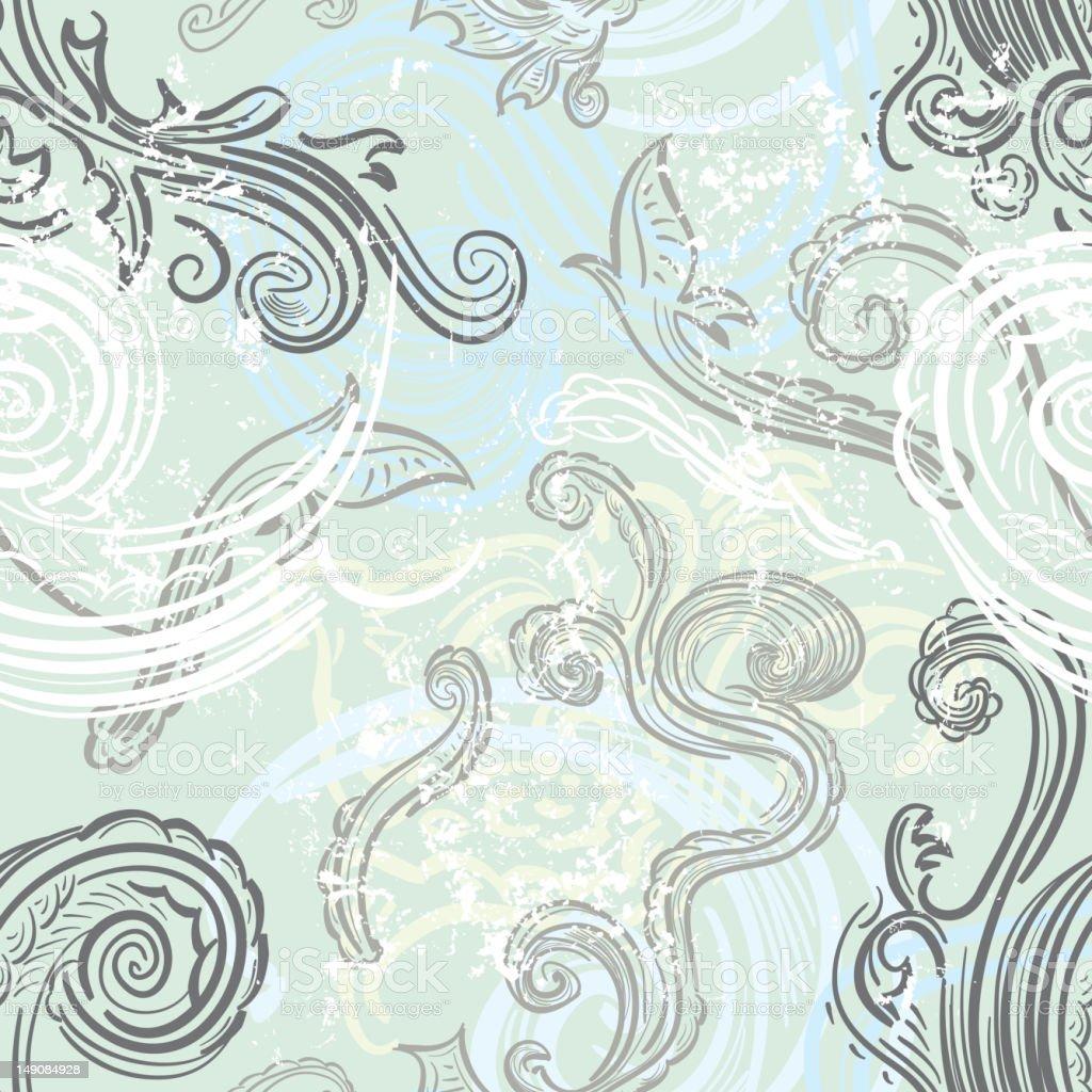 Seamless Leaf scroll pattern vector art illustration