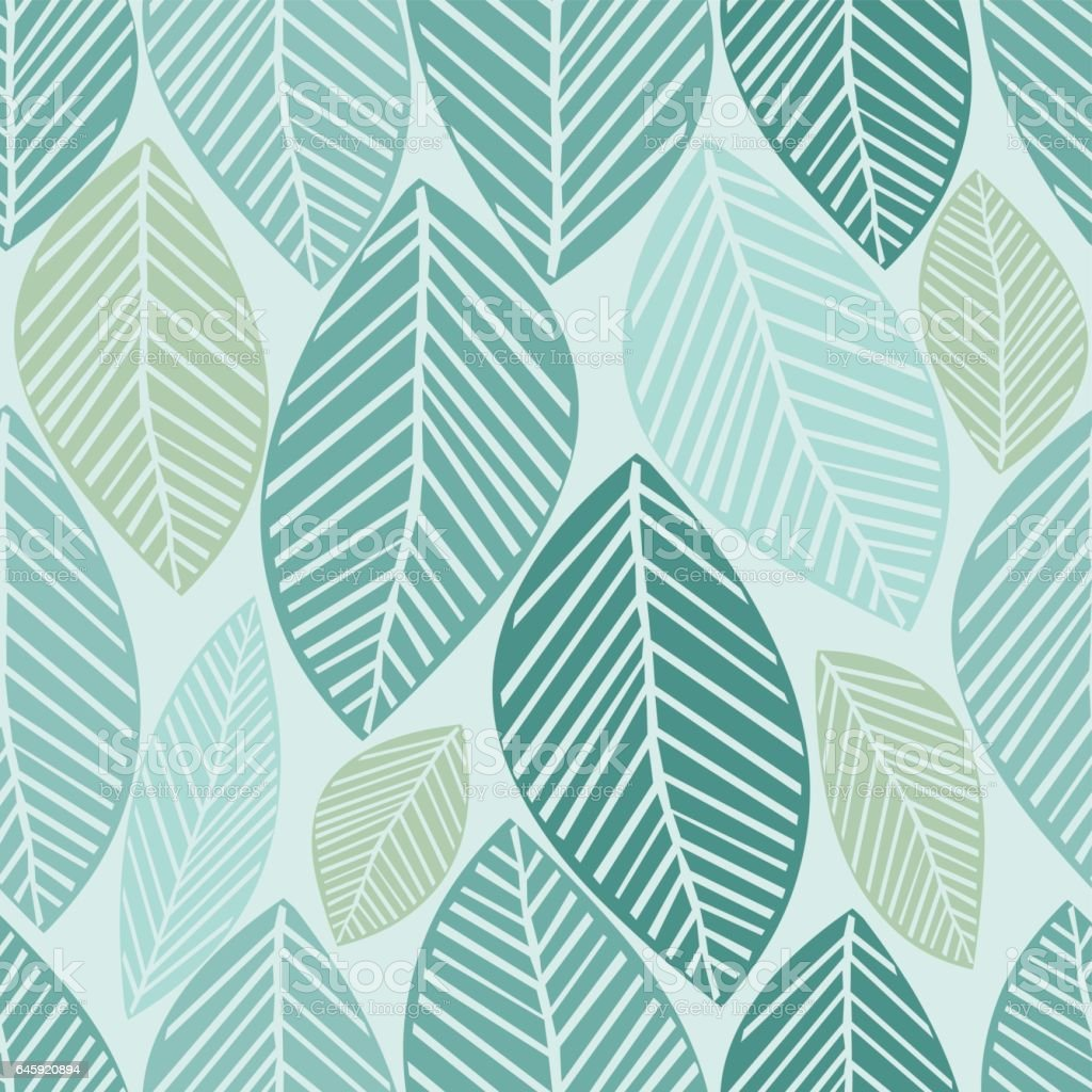 seamless leaves pattern background vector art illustration