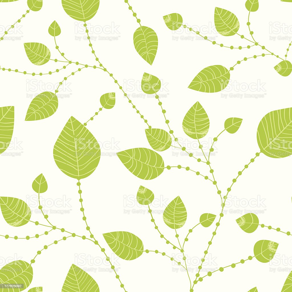 Seamless leaves pattern in green royalty-free stock vector art