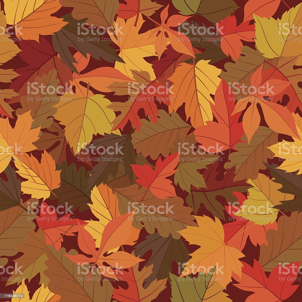 Seamless Leaves Pattern vector art illustration