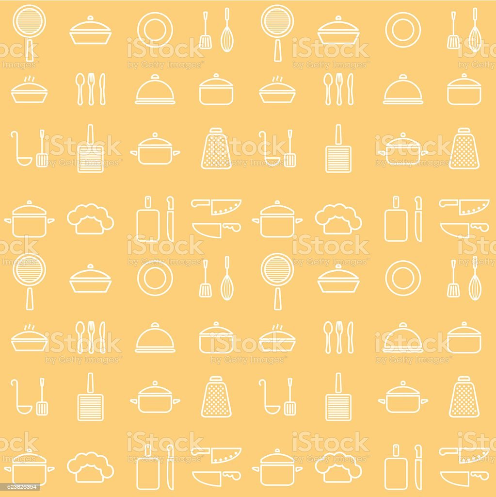 Seamless line kitchen icons yellow cookware background vector art illustration