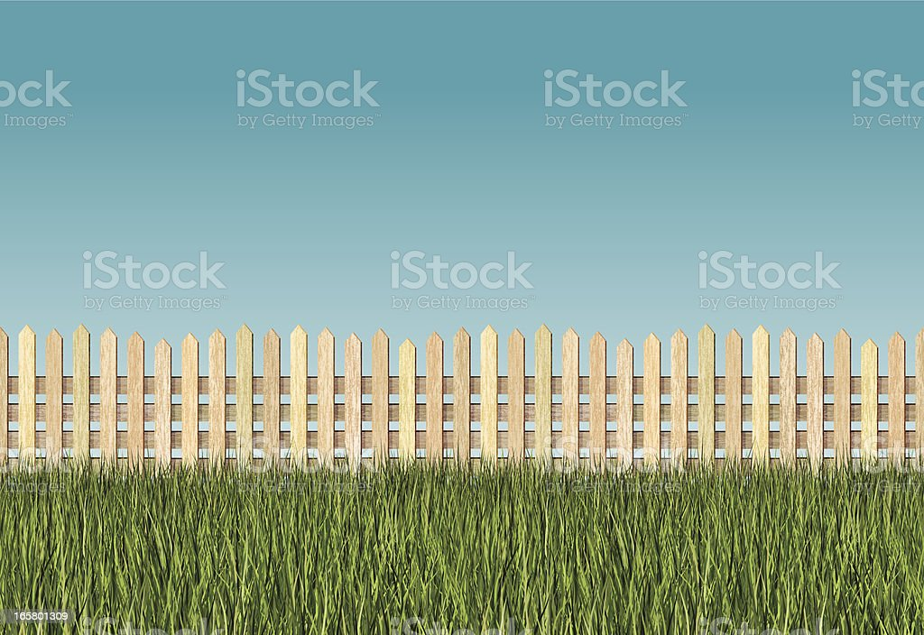 seamless long grass and picket fence background vector art illustration