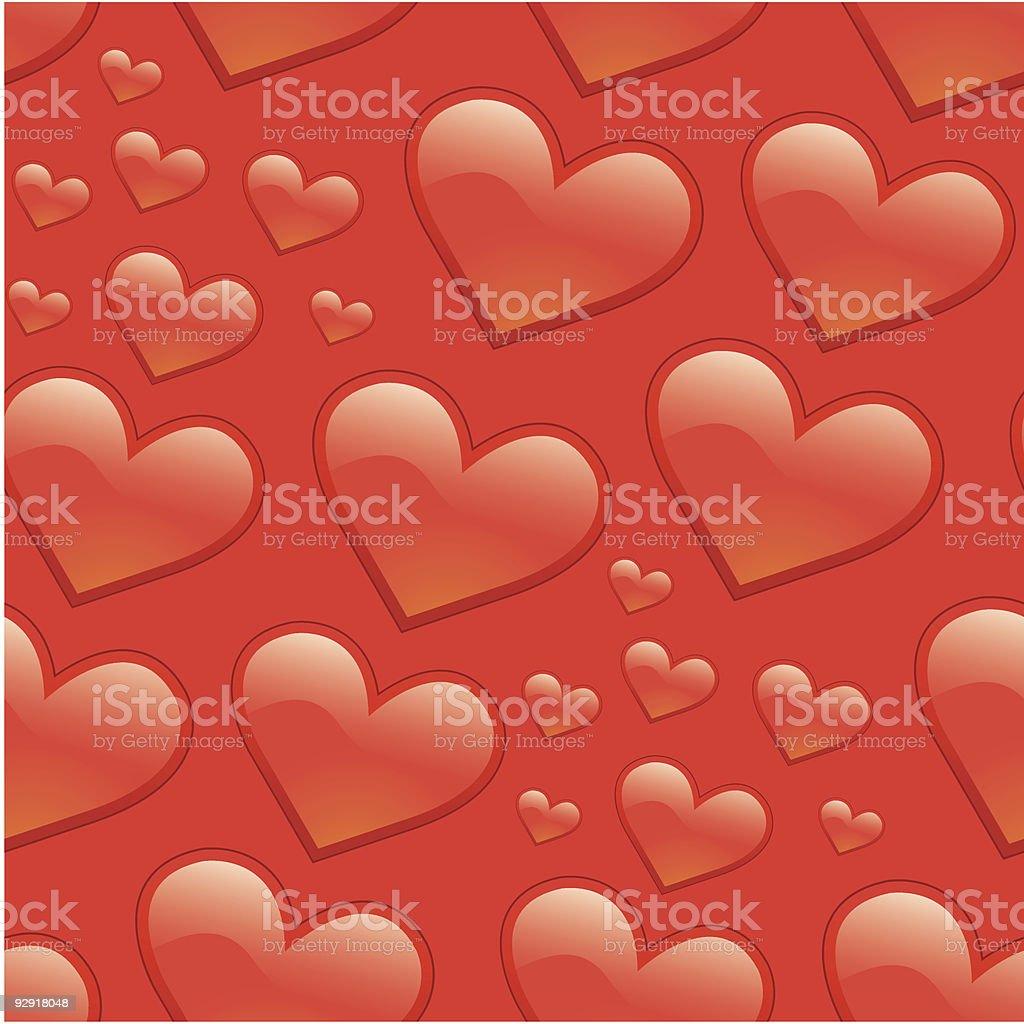 Seamless Love Heart Pattern (vector & jpeg) vector art illustration