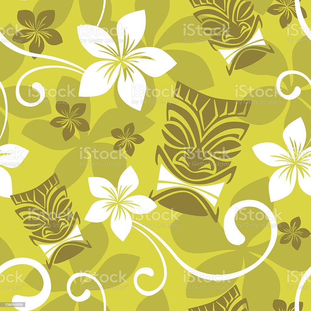 Seamless Luau Tiki Pattern vector art illustration
