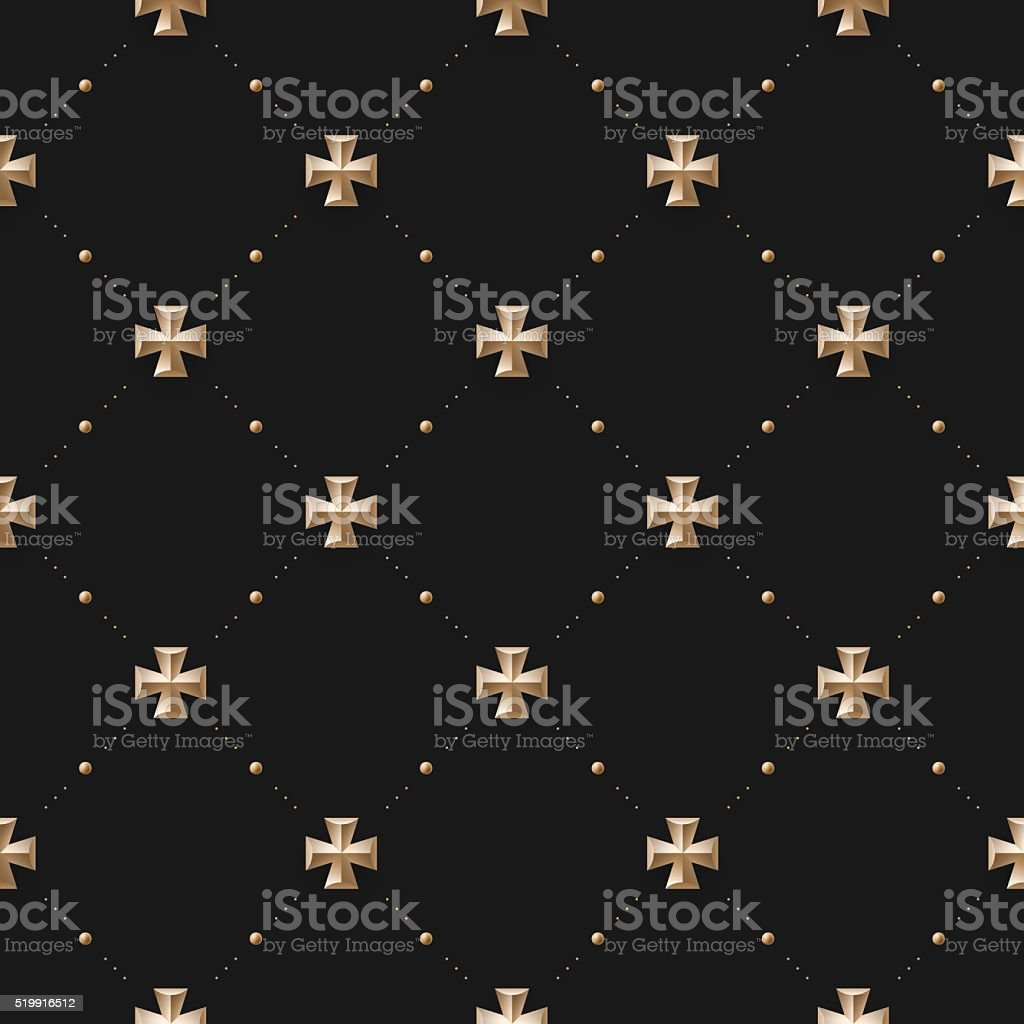 Seamless luxury dark black pattern and background with cross vector art illustration