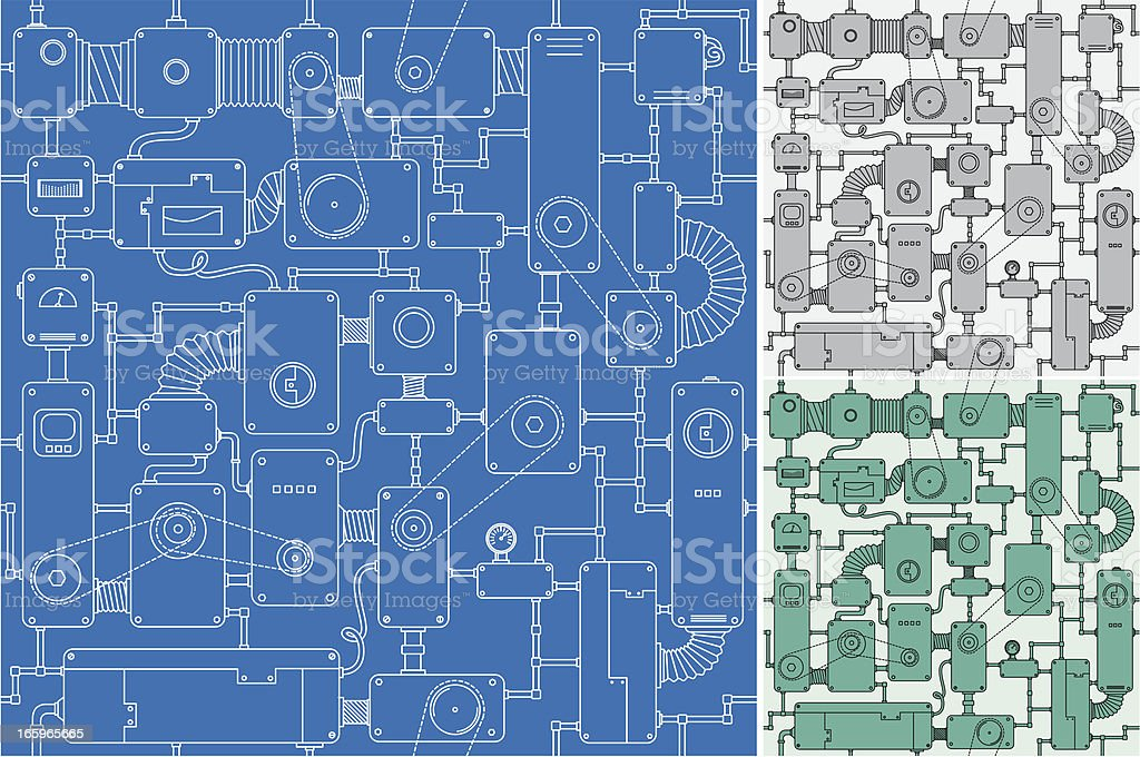 Seamless machine project vector art illustration