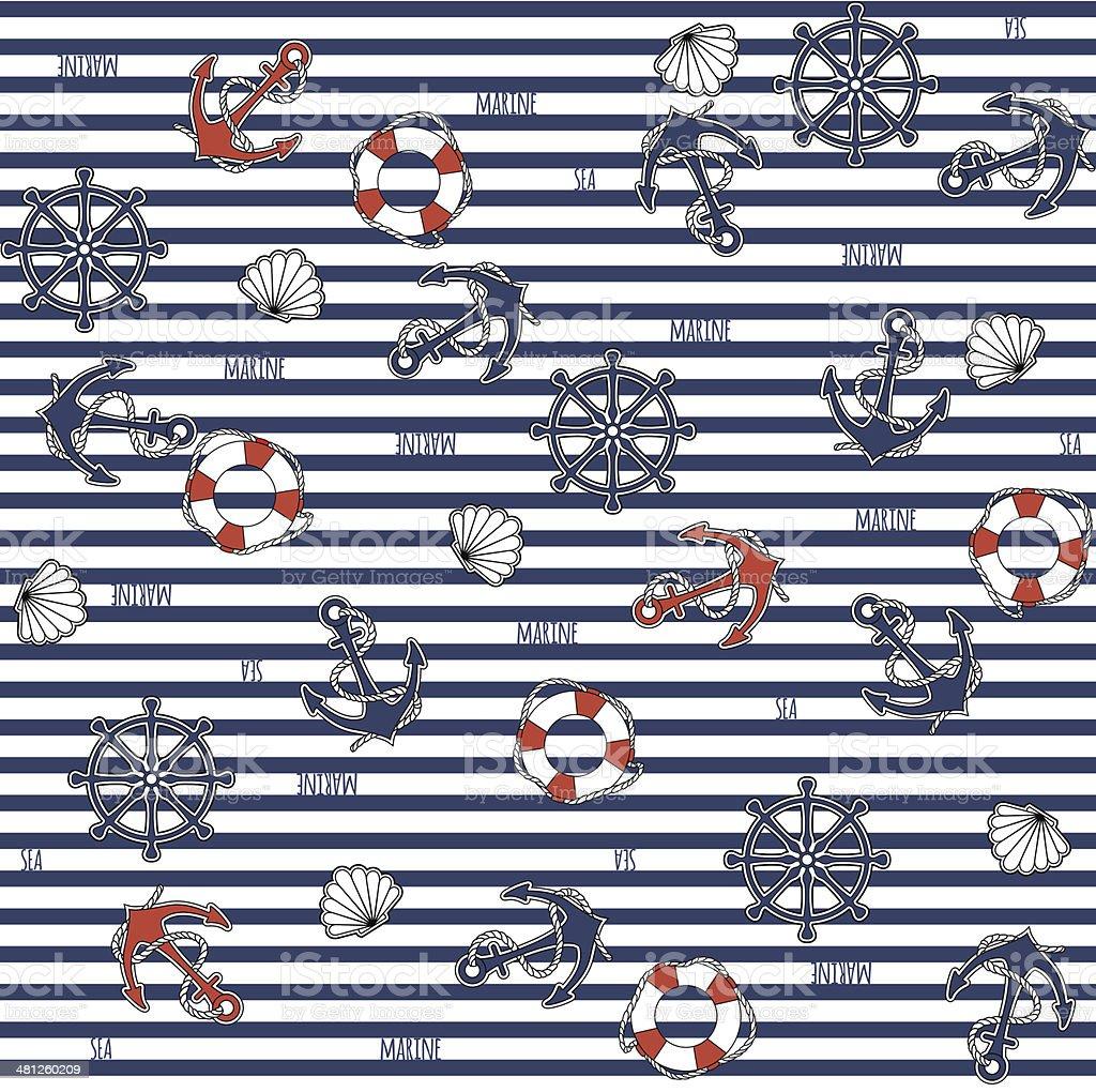 Seamless marine pattern royalty-free stock vector art
