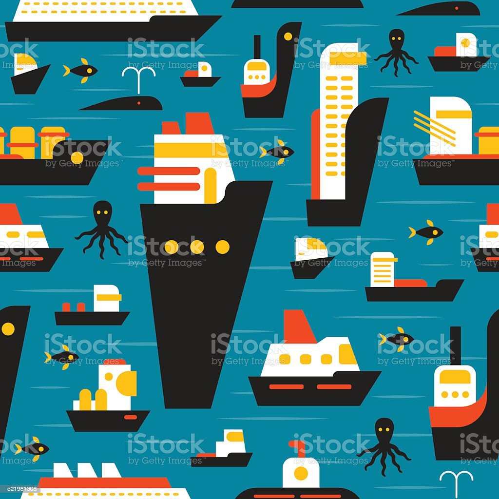 Seamless marine pattern with ships. vector art illustration