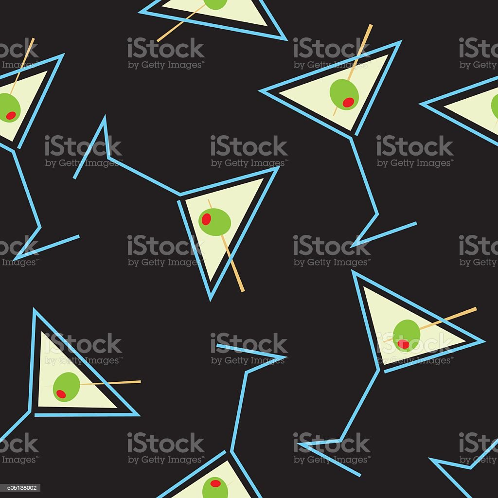 Seamless Martini Pattern vector art illustration