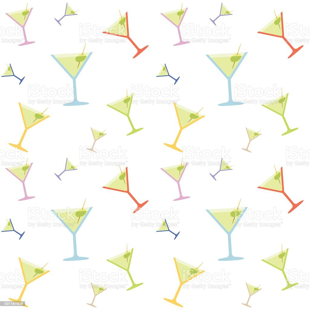 Seamless Martiny Glass Colorful Pattern vector art illustration