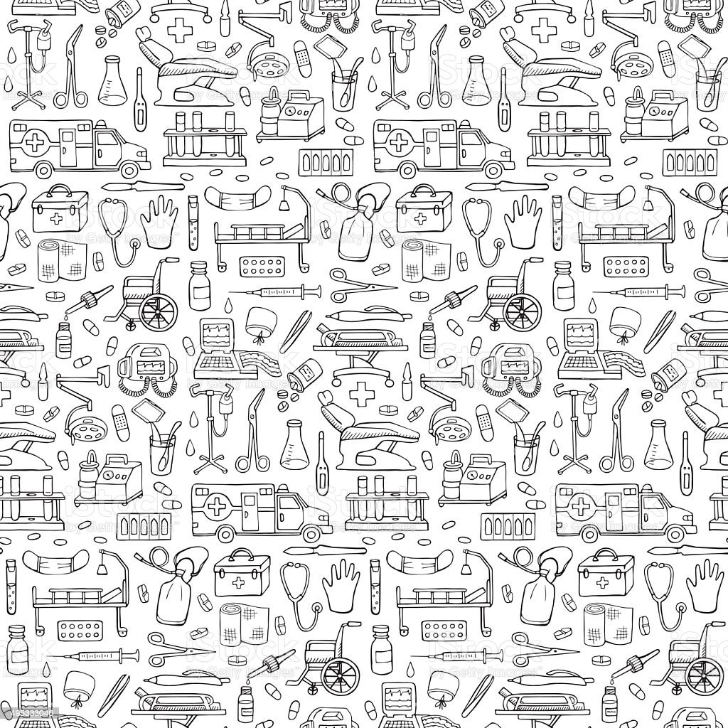 Seamless medical  hand drawn doodle pattern vector art illustration
