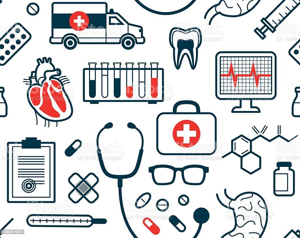 Seamless medical pattern vector art illustration