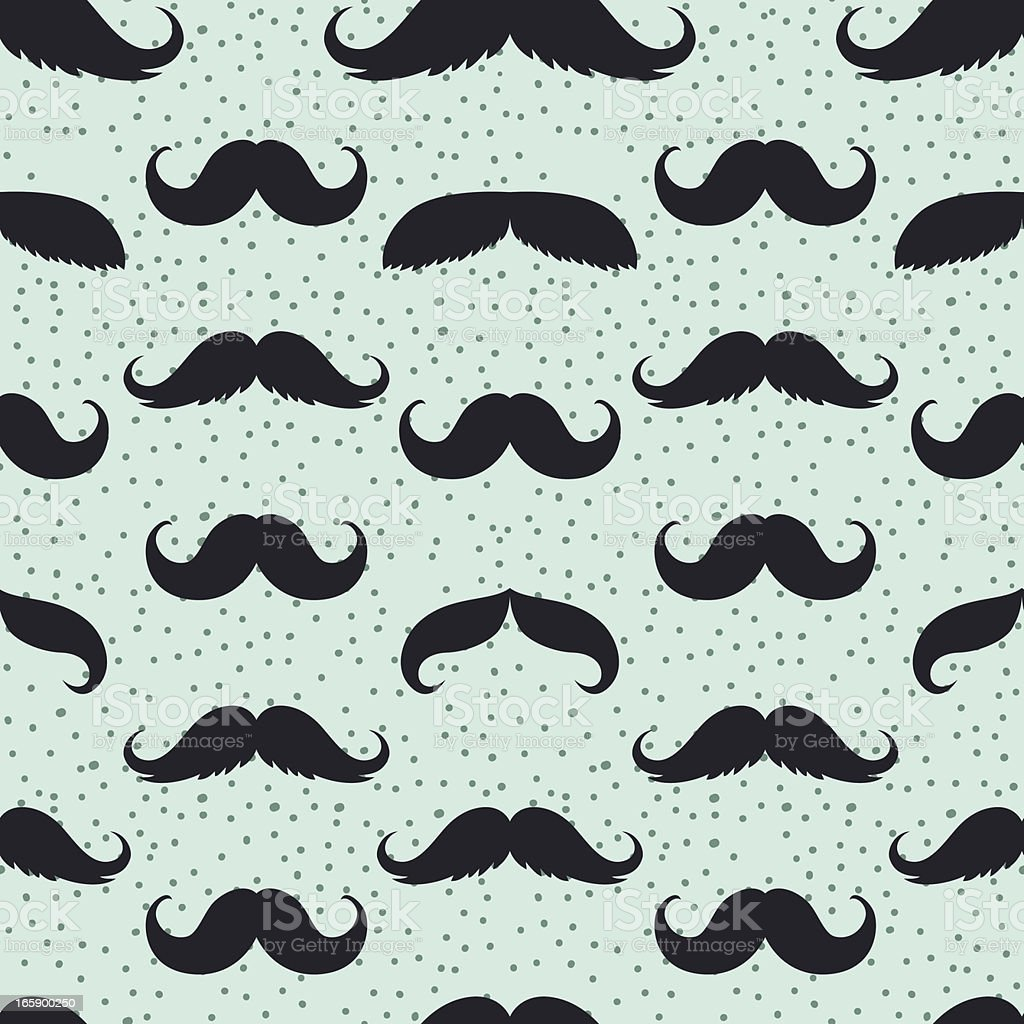 Seamless Men's Moustache Pattern Illustration on Blue Background royalty-free stock vector art