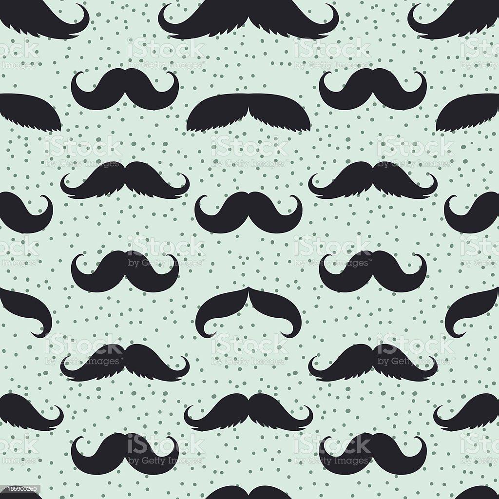 Seamless Men's Moustache Pattern Illustration on Blue Background vector art illustration