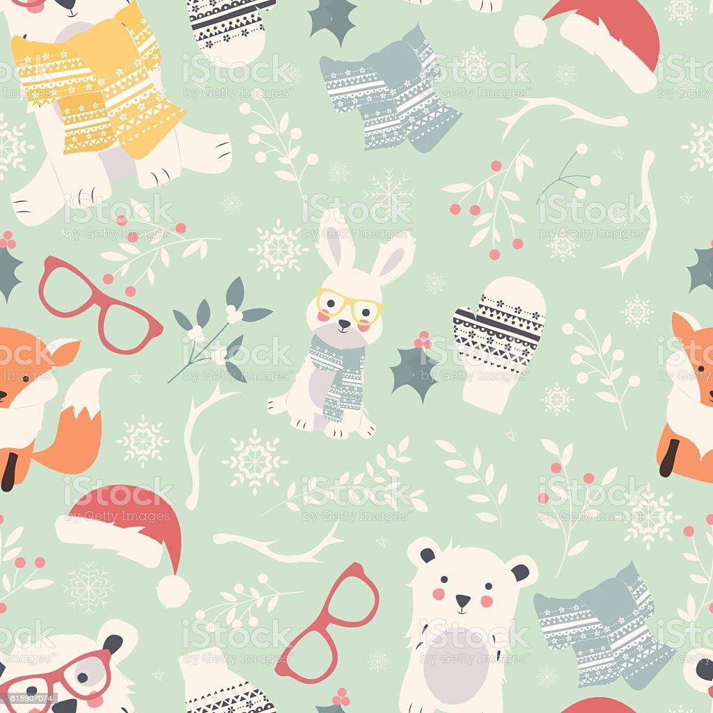Seamless Merry Christmas patterns with cute polar animals, bears, rabbits, vector art illustration