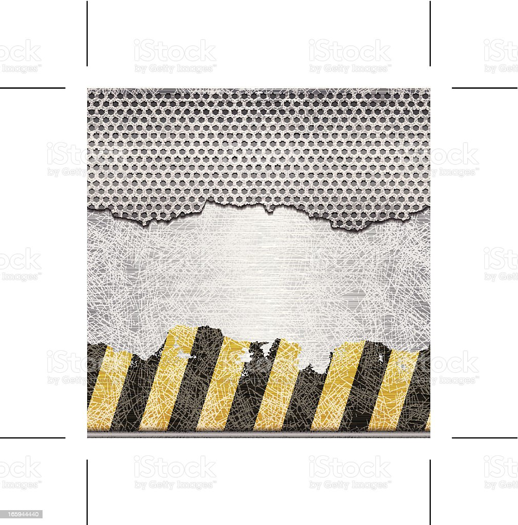 seamless torn perforated grid on steel plate with warning stripes vector art illustration