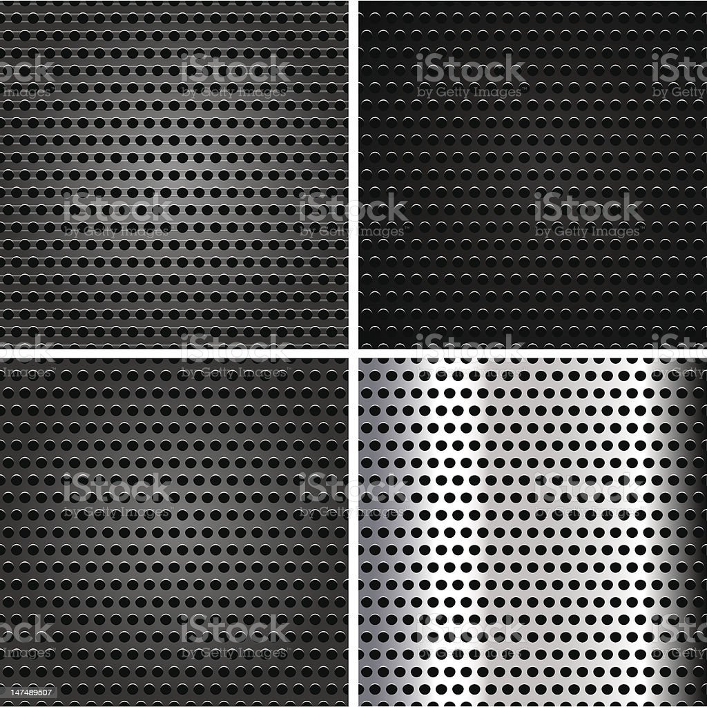 Seamless metallic surface, background set perforated sheet royalty-free stock vector art