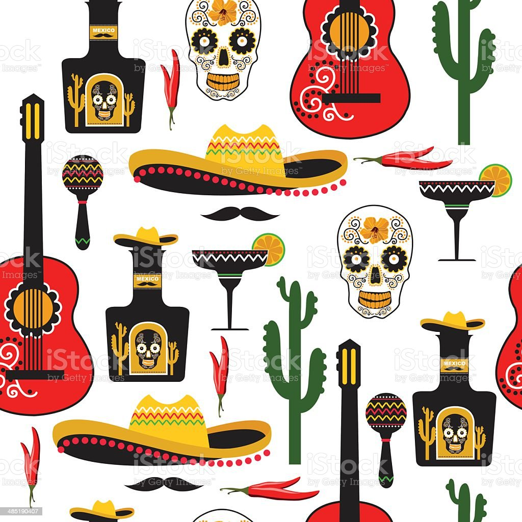 Seamless mexican pattern. vector art illustration