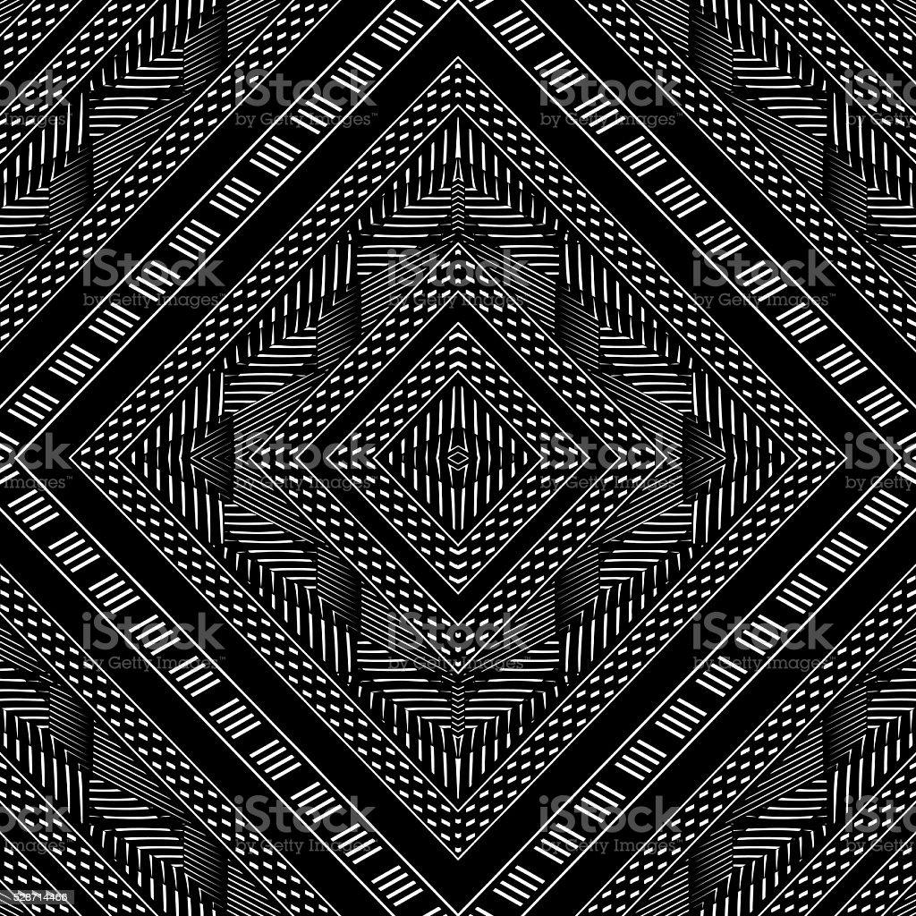 Seamless Mirrored Pattern in a Diamond Shape vector art illustration