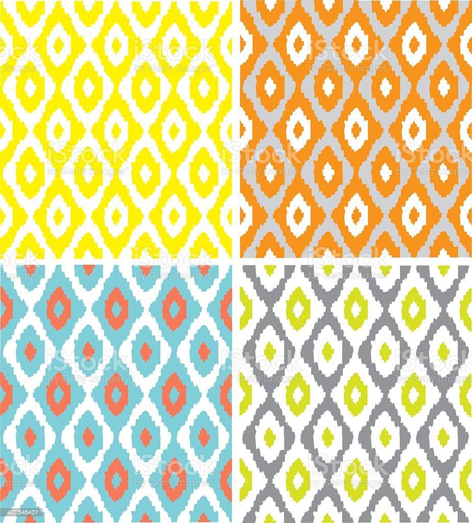 Seamless Modern Ikat Patterns vector art illustration