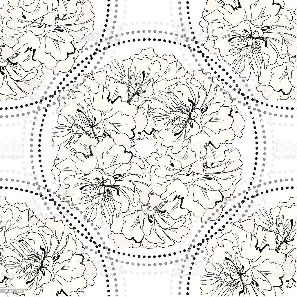 seamless monochrome geometric pattern from gentle flowers royalty-free stock vector art