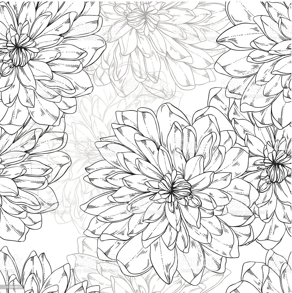 seamless monochrome vector pattern from abstract flowers royalty-free stock vector art