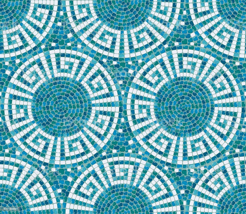 Seamless mosaic pattern -  Blue ceramic tile - geometric ornament vector art illustration